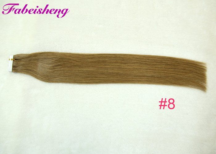 Soft And Straight 10 Inch Tape In Human Hair Extensions , Double Drawn Hair Weft
