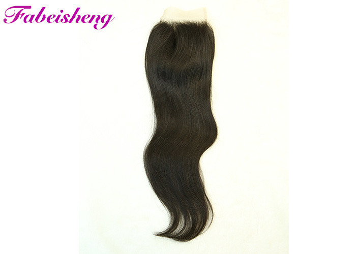 100% Virgin Human Hair Straight 4*4 Lace Closure Natural Color For Black Women